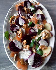 Healthy Salads, Healthy Recipes, Salad Wraps, Feel Good Food, Vegan, Beetroot, Weight Watchers Meals, Nutrition, Caprese Salad
