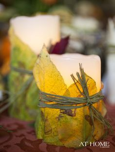 Any large candle can be decorated with what you have gathered on a nature walk or from your own yard.  Just use your imagination and be creative.... for any celebration or sabbat use with the appropriate colors, herbs & scents.