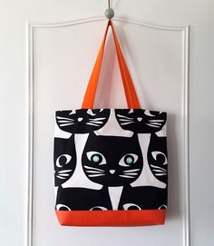 Grand sac Cabas Tissu motifs chats ! : Sacs à main par les-creas-de-carlita