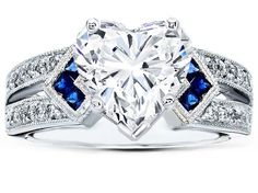 Heart Shape Diamond Engagement Ring Trio Blue Sapphire double diamond band in 14K White Gold