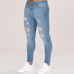 c0f3802fb50 Cotton Jean Men s Pants Vintage Hole Cool Trousers For Guys 2018 Summer  Europe America Style Plus