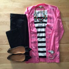 Striped top, Colorful cardigan, Skinny pants