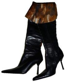 Bottes en cuir et peau Fiorangelo / Noir / 38 FR / Cuir / Automne - Hiver    http://www.videdressing.com/bottes-a-talons/fiorangelo/p-1202328.html