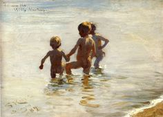 Peder Severin Krøyer, A Summer's Day at Skagen South Beach, 1884, Oil on panel, 20,6 x 28,5 cm, Private Collection
