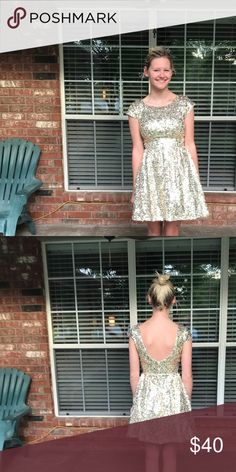 B. Darling Gold Sequin Dress Pictures of the gold sequin dress with a model! b. darling Dresses