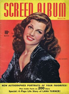 "Rita Hayworth on the front cover of ""Screen Album"" magazine, USA, March 1942."