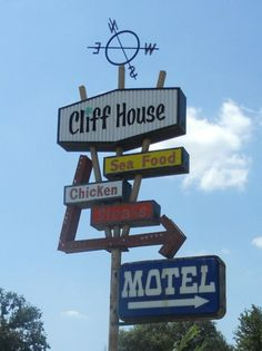 Cliff House Motel & Restaurant in Wahoo, NE Retro Signage, Vintage Neon Signs, Restaurant Signs, Cliff House, Lettering Styles, Old Signs, Advertising Signs, Googie, Street Signs