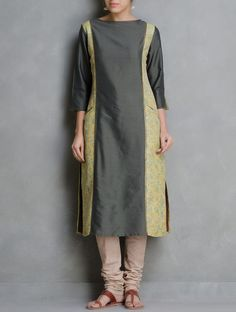 Buy Grey Kanta Embroidered & Sequin Detailed Cotton Silk Kurta by Firroza Apparel Tunics Kurtas Between the Lines Kantha Hand Tops Online at Jaypore.com