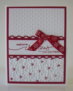 card kit Double Embossed Christmas Card Kit or This card is made with Stampin Up Card Stock and Ink. Finished Card Measures: Card Measures: 5 x 4 KITS: The card kit is a tota Homemade Christmas Cards, Christmas Cards To Make, Xmas Cards, Handmade Christmas, Homemade Cards, Holiday Cards, Prim Christmas, Embossed Christmas Cards, Embossed Cards