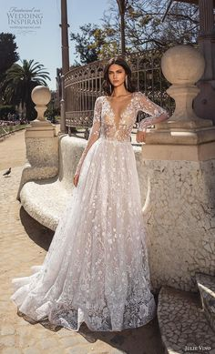 """If the words """"gorgeous long sleeve wedding dress"""" set your heart racing, you're in for a treat. Find your perfect long-sleeve wedding dress! Wedding Dress Chiffon, Long Wedding Dresses, Long Sleeve Wedding, Designer Wedding Dresses, Bridal Dresses, Wedding Gowns, Wedding Bride, Wedding Bells, Lace Evening Dresses"""