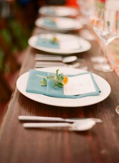Simple, pretty, blue and orange place setting.
