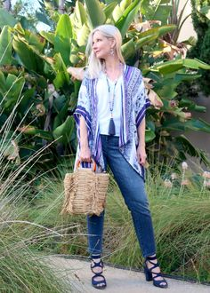 summer style for women over kimono wrap top, beaded boho jewelry, straw tote, cool boho jewe Boho Fashion Over 40, Plus Size Fashion For Women, Chicos Fashion, Women's Fashion, Unique Fashion, Winter Fashion, Fashion Outfits, Beste Jeans, Best Jeans For Women
