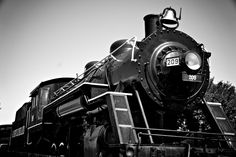 As Seen in Pottery Barn Kid's Catalog, Train Room Decor, Black and White Photograph, Old Train Photo. This black and white photo features Engine 209, which resides in Gainesville, Georgia. This train was part of the Seaboard Railroad. This bold industrial photo would make a great addition to your train room decor! This print is staged in the Pottery Barn Kids Catalog, Holiday 2013.