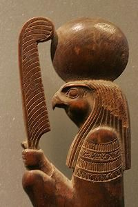 *RA: also spelled Re, was one of the ancient Egyptian gods who represented the sun. Ra was known as the sun god, + was the creator god + the first divine ruler of Egypt.  While the sun was present Ra was considered a live god, but during the dark hours he was looked at as dead.