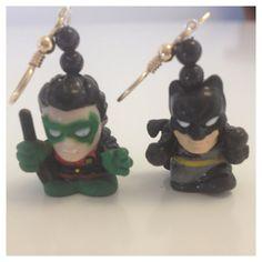 Batman & Robin Earrings by IntersectingDesigns on Etsy, $15.00