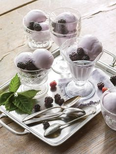 Blackberry Gelato Recipe - 24 Recipes to Savor the Flavors of Summer - Southernliving. Make Ahead Desserts, Desserts For A Crowd, Frozen Desserts, Frozen Treats, No Bake Desserts, Dessert Recipes, Fruit Dessert, Southern Desserts, Gelato Recipe