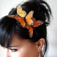 three monarch butterflies headband