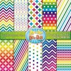 Chevron & Dot Digital Scrapbook Pack — Rainbow (10 Pages)
