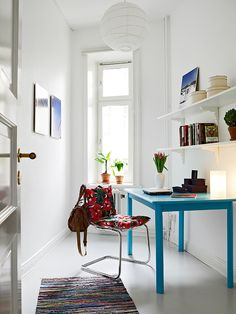 love the simple desk which adds a great pop of color