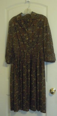 Vintage brown Dress Circle Skirt Kabro of Houston Day Dress Mad Men Mod Size Large