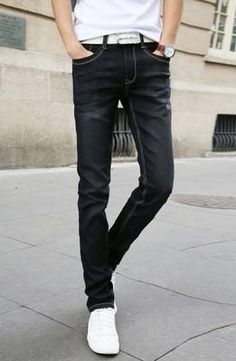 2019 Spring Summer New Fashion Men Casual Stretch Skinny Jeans Slim fit Trousers Tight Pants Solid Colors Casual Jeans, Jeans Style, Men Casual, Smart Casual, Skinny Fashion, Fashion Pants, Fashion Men, Fashion 2018, Style Fashion