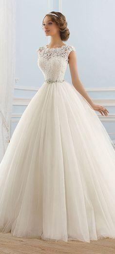 Junoesque Tulle Bateau Neckline Ball Gown Wedding Dress