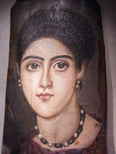 El Fayum, Egypt (c. CE) - funeral portrait as mask of a mummy Ancient Egyptian Religion, Ancient Rome, Ancient Art, Ancient History, Female Portrait, Portrait Art, Egypt Mummy, Egyptian Mummies, Roman Jewelry
