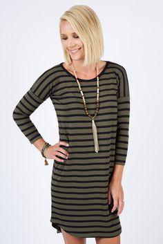Striped Tunic Dress OLIVE/BLACK. I wear a medium.