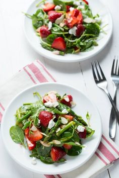 Strawberry and Spinach and Asparagus Salad