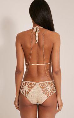 Maddy Beige Crochet Bikini - Swimwear - PrettylittleThing | PrettyLittleThing.com