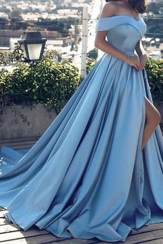 9d63f7c1348 Blue Off-the-shoulder Ball Gown Split Princess Beach Prom Dresses  Quinceanera Dresses PM120