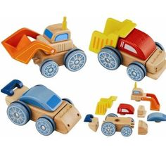 Interchangeable Car Your child can learn how pieces fit together to make something new, as well as improving dexterity with these fast and fun cars. Parts fit together to make a car, digger or bus. Wooden Car, Wooden Toys, Eco Friendly Cars, Green Toys, Sustainable Gifts, Classic Toys, Toddler Toys, Pre School, Children