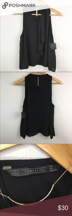 Zara Gathered Tank Top BNWT Beautiful black top with gathered fabric on front. BNWT Zara Tops