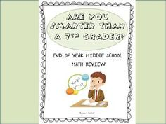 End of Year Middle School Math Review / Exam