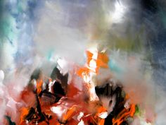 Fire on the snow. Original Abstract Oil Painting by Ellenysgallery, $549.00