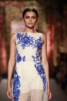 #Fashion #Runway #FashionWeek #Style #Blue #White #Elegant #Makeup #Sheer #Dress #Embroidery