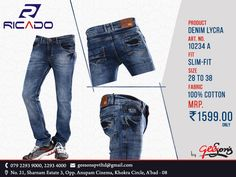 New Collection @ Ricado #Jeans  Product: Denim Lycra Fit: Slim-Fit  Size: 28 To 38 Fabric: 100% Cotton  #DenimLycra #Ricado #Cotton #SlimFit #SlimFitDanim