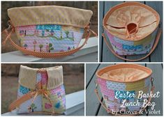 Convertible Basket/ Lunchbag    You will need:        20- 5″ squares      1 yard  fabric for lining, handle, and ties      1/2 yard fabric for bottom piece and lining/ casing band      Insulated fabric heat/cold  25 1/4″ x 18 1/2″ for main part of basket      Interfacing 1 yard for lining and handle      Flannel  2 1/2″ x WOF for handle      2 -1″  D-Rings      2 – 2″  Swivel Clips