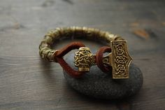 Bracelet with runes a bracelet with an ax leather bracelet