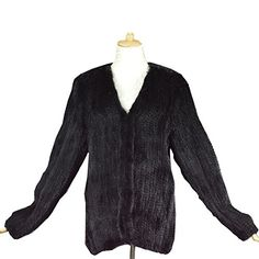 Topfur Plus Size Knitted Mink Fur Jacket and Coat for Women 100% Real Mink fur US14 Black *** Want additional info? Click on the image.