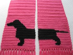 Pink Dachshund Scarf. Neon pink crochet scarf with by hooknsaw