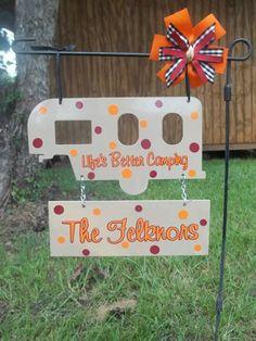 Camper yard sign by BackyardMetalArts on Etsy