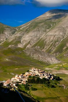 Medieval town of Castelluccio perched above the Piano Grande, Umbria Italy, province of Perugia