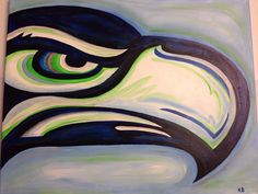 Seattle Seahawks acrylic canvas painting. Perfect for the 12th Man Fan!