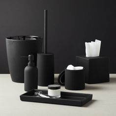 noir side of neat. Tactile stoneware tray adds a modern touch with a surprising surface of black rubber. Go for a full sensory experience with all of our rubber coated black accessories. Stoneware with black rubber coating Handwash Made in China Modern Bathroom Accessories, Black Bathroom Decor, Black Decor, Bath Accessories, Bathroom Sets, Black Bathrooms, Black Kitchen Decor, Bathroom Rules, Brass Bathroom