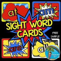 Superhero Sight Words - FREE sample by OkinawanGirl Second Grade Sight Words, Pre Primer Sight Words, Fry Sight Words, Fry Words, Dolch Sight Words, Sight Word Centers, Sight Word Games, Superhero Classroom Theme, Future Classroom
