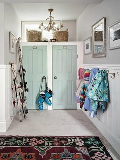 Sarah Richardson's Ontario holiday house mudroom- door color tidewater sherwin williams- amazing rug!