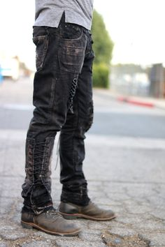 Made from recycled denim. email boneblackla@gmail.com for special inquires