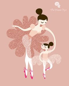 11X14 ballerina mother and daughter giclee print on by ThePaperNut