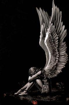 Spiral Enslaved Angel Wings Sad Weeping Crying Gothic Fantasy Poster - in Home & Garden, Home Décor, Posters & Prints Sad Angel, Angel And Devil, Crying Angel, Fantasy Kunst, Dark Fantasy Art, Christus Tattoo, Wallpaper Bonitos, Fantasy Posters, Angel Drawing